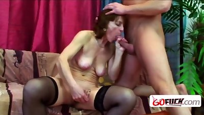 Naughty old nipper takes her teeth box off relating to give a wet Bj