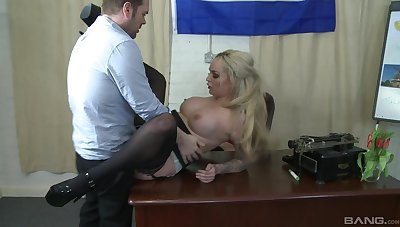 Tattooed office milf gets busy with will not hear of boss which is a stud