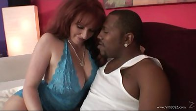 Chubby MILF hammered by a big black bushwa less interracial sex