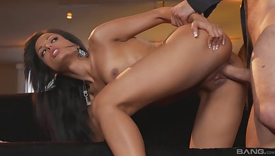 Skinny Asian suits her sex desires with a big bushwa