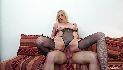 Blonde MILF was hungry for cum, and she got her meet and more