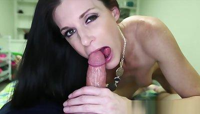 Handjob loving milf sucks cock and balls