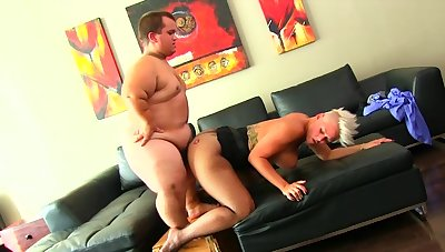 Teeny fucks big-busted MILF and cums on her obese ass