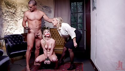 Filial blonde roughly fucked in a brutal BDSM threesome