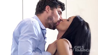Steamy hot dark haired babe, Nia Black, is rimming her boyfriend and getting some cock