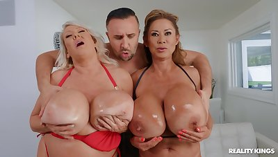 Cougars with huge melons, nasty load of shit sharing home threesome