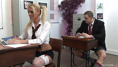 Arresting classroom group bang featuring Cate Harrington and Antonia Deona