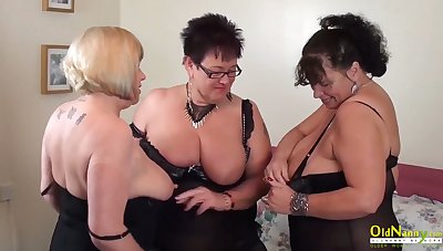 Big natural tits of mature women in threesome lesbian action other than pussy masturbation