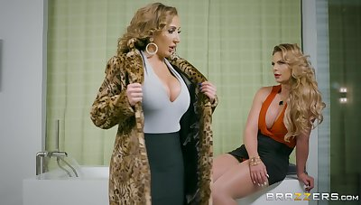 Busty cougar shares naughty lesbian experience less another top MILF