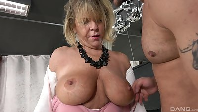 Dirty mature Renata sucks a dick and gets fucked by a younger dude