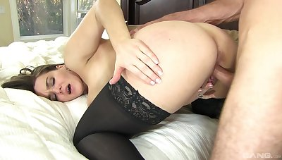 Tight unskilled with beamy tits, exquisite doggy drilling in bed