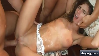 Insatiable Darkhaired Babe Mam In Stockings Gets Double Fucked