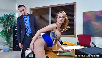 Tight-fisted sissified bends ass for the boss to bang her right
