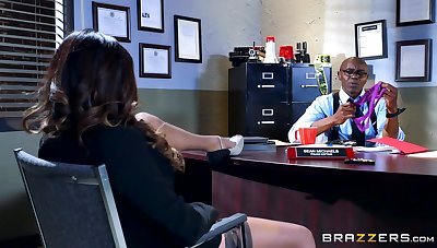 Black lady's man ass fucks FBI agent increased by cums on her tits