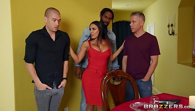 Aroused MILF bore fucked in a rough scene by three naked men