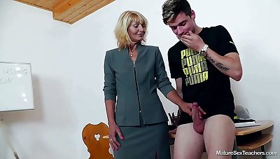 Older Teacher Ivona And Teen Thick-Dicker