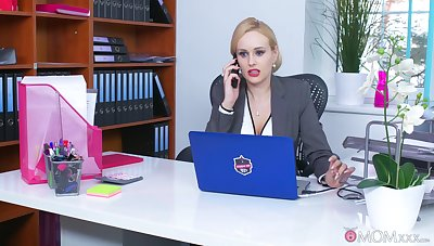 Office MILF is keen with reference to smash the new guy's dick concerning her tiny holes
