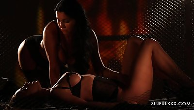 Wearing sexy black lingerie busty lesbians are get-at-able be proper of scissoring