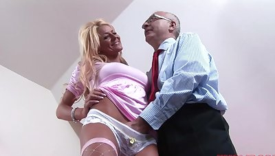 Seductive blonde girl Tia enjoys getting fucked by an older suppliant