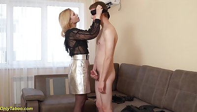 Mom surprises her boyfriend wanking plus gets first time deep ass fucked by his strong load of shit