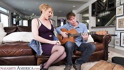 Eve Laurence pillar teach a intercourse lesson to the guitar teacher