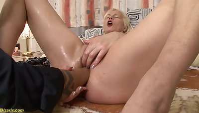 Unshaved granny gets extreme deep plus rough interracial parrot sinistral