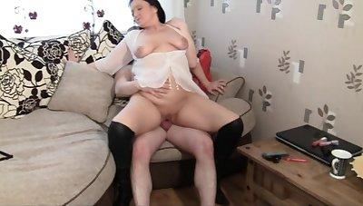 Slutty British mature Succulent Ju loves having sex with her neighbor