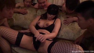 Nude busty Japan inclusive gangbang fucked on cam