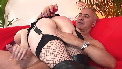 Formerly larboard haired British slut Shay gives head and rides his obese dick