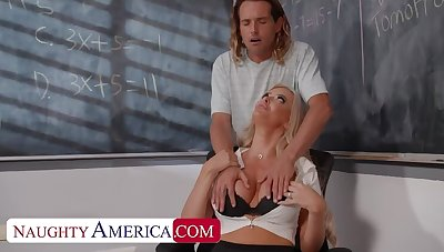 Naughty America: Big tit professor, Linzee Ryder, fucks her aide to relief cadence on PornHD