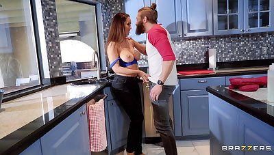 Cheating boyfriend fucks gf's pulsation friend Isis Love in the kitchen